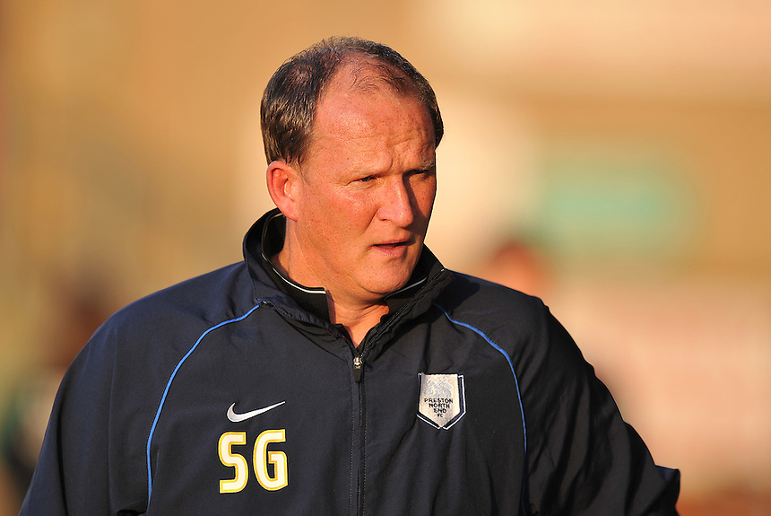 Preston North End's Manager Simon Grayson<br /> <br /> Photographer Dave Howarth/CameraSport<br /> <br /> Football - Capital One Cup First Round - Crewe Alexandra v Preston North End - Wednesday 12th August 2015 - Alexandra Stadium - Crewe<br />  <br /> &copy; CameraSport - 43 Linden Ave. Countesthorpe. Leicester. England. LE8 5PG - Tel: +44 (0) 116 277 4147 - admin@camerasport.com - www.camerasport.com