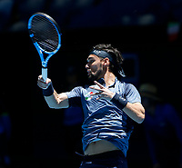 5th January 2020; RAC Arena, Perth, Western Australia; ATP Cup Australia, Perth, Day 3; Italy versus Norway; Fabio Fognini of Italy follows through on a forehand shot against Casper Ruud of Norway - Editorial Use