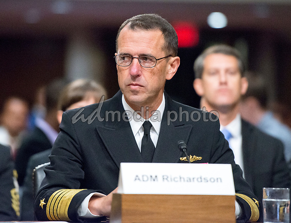 """Admiral John M. Richardson, USN, Chief Of Naval Operations, testifies before the US Senate Committee on Armed Services on """"Recent United States Navy Incidents at Sea"""" on Capitol Hill in Washington, DC on Tuesday, September 19, 2017.  The hearing is investigating the two separate collisions with the USS Fitzgerald and USS John S. McCain that resulted in the loss of 17 US Sailors. Photo Credit: Ron Sachs/CNP/AdMedia"""