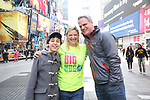 Anthony Rosenthal, Laura Heywood, aka @BroadwayGirlNYC, and Michael Park attend Big Hug Day: Broadway comes together to spread kindness and raise funds for Children's Hospitals on January 21, 2018 at Duffy Square, Times Square in New York City.