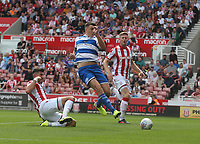 Queens Park Rangers' Jordan Hugill scores the opening goal <br /> <br /> Photographer Stephen White/CameraSport<br /> <br /> The EFL Sky Bet Championship - Stoke City v Queens Park Rangers - Saturday 3rd August 2019 - bet365 Stadium - Stoke-on-Trent<br /> <br /> World Copyright © 2019 CameraSport. All rights reserved. 43 Linden Ave. Countesthorpe. Leicester. England. LE8 5PG - Tel: +44 (0) 116 277 4147 - admin@camerasport.com - www.camerasport.com
