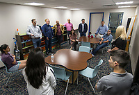 NWA Democrat-Gazette/BEN GOFF @NWABENGOFF<br /> Guests take a tour Thursday, June 6, 2019, during a grand opening for the new Teen Center across the street from the Boys & Girls Club in Rogers.