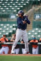 Atlanta Braves shortstop Kevin Maitan (50) at bat during an Instructional League game against the Baltimore Orioles on September 25, 2017 at Ed Smith Stadium in Sarasota, Florida.  (Mike Janes/Four Seam Images)