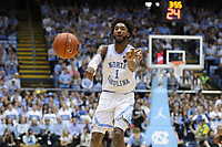 CHAPEL HILL, NC - MARCH 03: Leaky Black #1 of the University of North Carolina passes the ball during a game between Wake Forest and North Carolina at Dean E. Smith Center on March 03, 2020 in Chapel Hill, North Carolina.