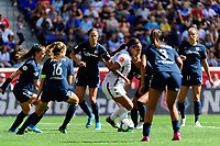 HARRISON, NJ - SEPTEMBER 29: Sydney Leroux #2 of the Orlando Pride is surrounded by Sky Blue FC players during a game between Orlando Pride and Sky Blue FC at Red Bull Arena on September 29, 2019 in Harrison, New Jersey.