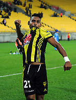 Roy Krishna celebrates his hat-trick during the A-League football match between Wellington Phoenix and Melbourne City FC at Westpac Stadium in Wellington, New Zealand on Sunday, 21 April 2019. Photo: Dave Lintott / lintottphoto.co.nz