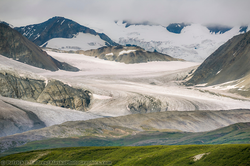 Gakona glacier flows out of the Alaska Range mountains, Interior, Alaska