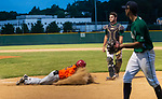 WATERBURY, CT-071520JS26—Brass City Bombers' Justin Guerrera (22) slide into home head first after hitting an in-the-park home run during their summer college league game against the Simsbury SaberCats Wednesday at Municipal Stadium in Waterbury. <br /> Jim Shannon Republican-American