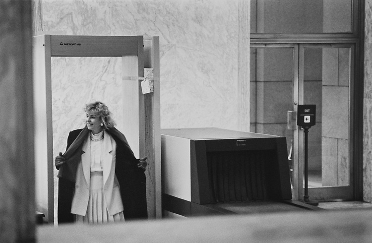 Hidden camera photographs a woman going through metal detector at Rayburn House Office Building at the Independence Avenue entrance on Jan. 7, 1992. (Photo by Laura Patterson/CQ Roll Call via Getty Images)