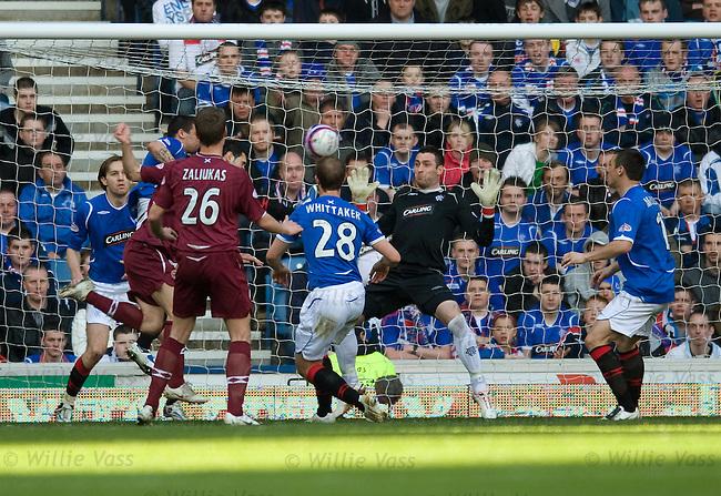 Christos Karipidis heads the first goal for Hearts past Rangers keeper Allan McGregor