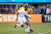 Maurice Edu (19) of the United States is marked by Paulo Henrique Ganso (10) of Brazil. The men's national team of Brazil (BRA) defeated the United States (USA) 2-0 during an international friendly at the New Meadowlands Stadium in East Rutherford, NJ, on August 10, 2010.