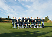 23.09.2014. Gleneagles, Auchterarder, Perthshire, Scotland.  The Ryder Cup.  Paul McGinley European Team Captain with his vide captains and Team Europe pose with the Ryder Cup,  during the Team Europe photo call. Players shown Thomas Bjorn, Jamie Donaldson, Victor Dubuisson, Sergio Garcia, Martin Kaymer, Graeme McDowell, Rory McIlroy, Justin Rose, Henrik Stenson, Lee Westwood, Stephen Gallacher, Ian Poulter,