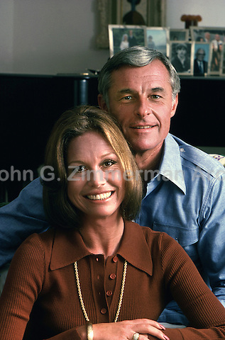 Mary Tyler Moore and husband Grant Tinker at home, Los Angeles, 1974. Photo by John G. ZImmerman