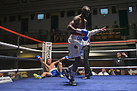 Chris Kongo (white shorts) defeats Arvydas Trizno during a Boxing Show at York Hall on 30th June 2018