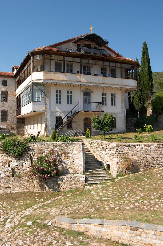 The Tsantalis sponsored monastery. Mount Athos. Tsantali Vineyards & Winery, Halkidiki, Macedonia, Greece. Metoxi Chromitsa of St Panteleimon monastery.