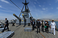 Pictured: Prince Edward is shown around the ship. Saturday 18 May 2019<br /> Re: Prince Edward, Duke of Kent visits cruiser Georgios Averof at Palaio Faliro, Athens, Greece