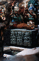 World Civilization:  Mayan Culture--Reconstruction of a jaguar sacrifice.  Painting by Tom Hall for NATIONAL GEOGRAPHIC.  W. L. Fash, SCRIBES, WARRIORS AND KINGS.