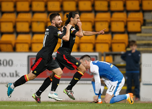 Ryan Edwards celebrates after scoring the second goal for Partick Thistle