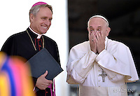 Pope Francis Monsignor Georg Gaenswein  during his weekly general audience  in St. Peter square at the Vatican, Wednesday.May 25 2016.