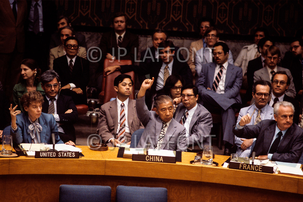 United Nations, New York - June 19, 1981. Jeane Kirkpatrick votes against condemning 'Operation Opera', an Israeli air strike that destroyed a nuclear reactor in Iraq, at the United Nations Security Council. She  (December 19, 1926 - December 7, 2006) was the first female U.S. ambassador to the United Nations, who was renown for her support of anticommunist governments and authoritarian dictatorships.