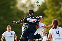 Sky Blue FC forward Danesha Adams (9) and midfielder Taylor Lytle (6) goes up for a header with Portland Thorns midfielder Allie Long (10). Sky Blue FC and the Portland Thorns played to a 0-0 tie during a National Women's Soccer League (NWSL) match at Yurcak Field in Piscataway, NJ, on June 22, 2013.