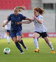 Lea Declercq of France in action against Aoife Mannion of England during the UEFA Womens U19 Final at Parc y Scarlets Saturday 31st August 2013. All images are the copyright of Jeff Thomas Photography-www.jaypics.photoshelter.com-07837 386244-Any use of images must be authorised by the copyright owner.