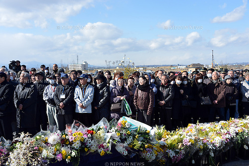 March 11, 2013, Sendai, Japan - A memorial service are held at the monument erected near a beach by the Pacific Ocean in Sendai, Miyagi Prefecture, on Monday, March 11, 2013, as the nation observes the second anniversary of the March 11, 2011, earthquake and tsunami.  (Photo by Natsuki Sakai/AFLO)