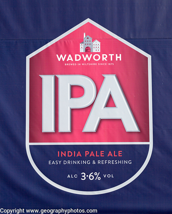 Close up of advertising sign for Wadworth IPA ale, Devizes, Wiltshire, England, UK