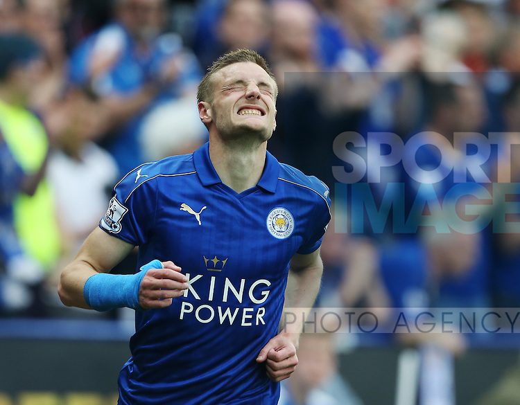 Leicester's Jamie Vardy looks on during the Barclays Premier League match at the King Power Stadium.  Photo credit should read: David Klein/Sportimage