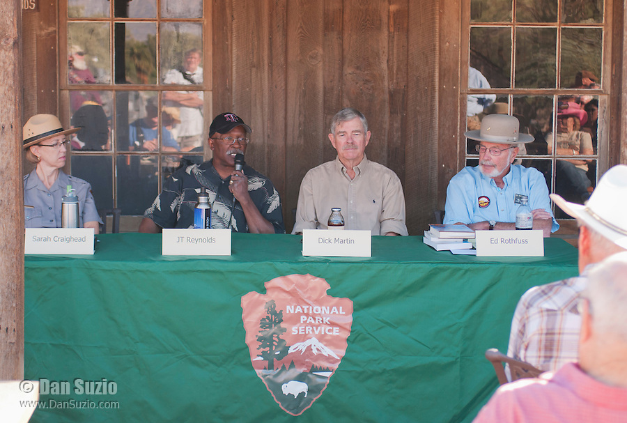 Sarah Craighead (left), superintendent of Death Valley National Park from 2009-2012, leads a panel discussion with former superintendents JT Reynolds (2001-2009), Dick Martin (1994-2001), and Ed Rothfuss (1982-1994) at the Grand Re-Opening of the Furnace Creek Visitor Center on November 4, 2012.