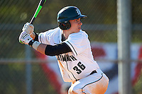 Dartmouth Big Green center fielder Trevor Johnson (36) at bat during a game against the St. Bonaventure Bonnies on February 25, 2017 at North Charlotte Regional Park in Port Charlotte, Florida.  St. Bonaventure defeated Dartmouth 8-7.  (Mike Janes/Four Seam Images)