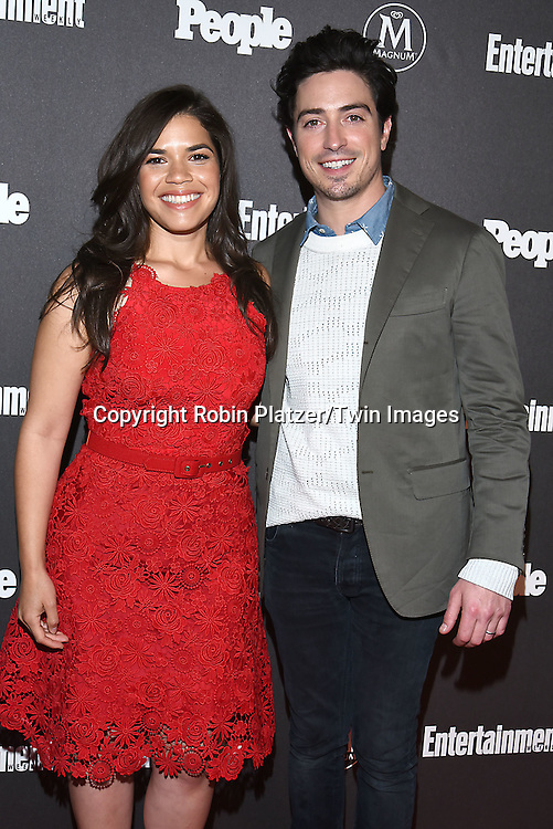 America Ferrera and Ben Feldman of &quot;Superstore&quot; attends the Entertainment Weekly &amp; PEOPLE Magazine New York Upfronts Celebration on May 16, 2016 at Cedar Lake in New York, New York, USA.<br /> <br /> photo by Robin Platzer/Twin Images<br />  <br /> phone number 212-935-0770