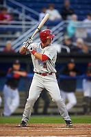 Auburn Doubledays first baseman David Kerian (21) at bat during a game against the Batavia Muckdogs on July 8, 2015 at Dwyer Stadium in Batavia, New York.  Batavia defeated Auburn 4-1.  (Mike Janes/Four Seam Images)