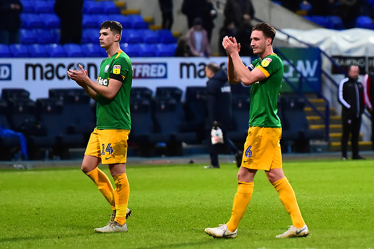 Preston North End's Ben Davies and Jordan Storey applaud the fans<br /> <br /> Photographer Richard Martin-Roberts/CameraSport<br /> <br /> The EFL Sky Bet Championship - Bolton Wanderers v Preston North End - Saturday 9th February 2019 - University of Bolton Stadium - Bolton<br /> <br /> World Copyright &copy; 2019 CameraSport. All rights reserved. 43 Linden Ave. Countesthorpe. Leicester. England. LE8 5PG - Tel: +44 (0) 116 277 4147 - admin@camerasport.com - www.camerasport.com