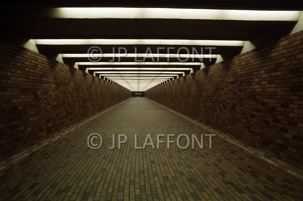 Montreal, Canada, March 1978. The city's subway system. Bonaventure metro station.