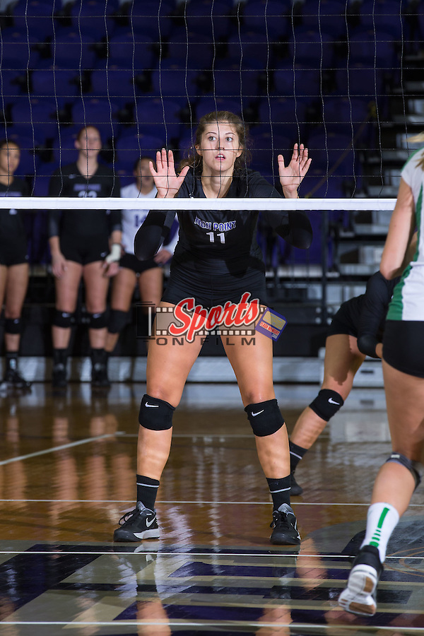 Carly Jimenez (11) of the High Point Panthers during the match against the Marshall Thundering Herd at the Panther Invitational at the Millis Athletic Center on September 12, 2015 in High Point, North Carolina.  The Thundering Herd defeated the Panthers 3-2.   (Brian Westerholt/Sports On Film)