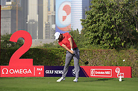 Lucas Bjerregaard (DEN) on the 2nd tee during Round 3 of the Omega Dubai Desert Classic, Emirates Golf Club, Dubai,  United Arab Emirates. 26/01/2019<br /> Picture: Golffile | Thos Caffrey<br /> <br /> <br /> All photo usage must carry mandatory copyright credit (© Golffile | Thos Caffrey)
