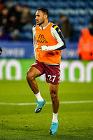 9th March 2020; King Power Stadium, Leicester, Midlands, England; English Premier League Football, Leicester City versus Aston Villa; Ahmed Elmohamady of Aston Villa warms-up prior to the match