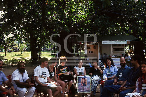 UNCED Earth Summit, Rio de Janeiro, 1992. Group meeting including Linda Rabben and Olimpio Serra