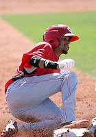 Billy Hamilton #4  of the Cincinnati Reds plays in a minor league spring training game against the Cleveland Indians at the Reds minor league complex on March 27, 2011  in Goodyear, Arizona. .Photo by:  Bill Mitchell/Four Seam Images.