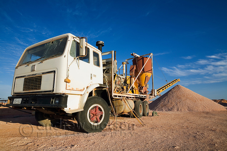 Opal mining machinery - Coober Pedy, South Australia, AUSTRALIA.