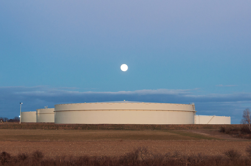Full Moon &amp; Oil Tanks<br />