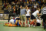 Berlin, Germany, February 01: Players of Duesseldorfer HC celebrate after defeating HTC Uhlenhorst Muehlheim 4-1 to win the Deutsche Meisterschaft on February 1, 2015 at the Final Four tournament at Max-Schmeling-Halle in Berlin, Germany. Final score 4-1 (1-0). (Photo by Dirk Markgraf / www.265-images.com) *** Local caption ***