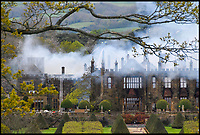 Bmth News (01202 558833)<br /> Pic:  GrahamHunt/BNPS<br /> <br /> An historic stately home that burned to the ground in a devastating arson attack has been put up for sale for &pound;3m - &pound;12m less than what it was worth.<br /> <br /> Grade I listed Parnham House, near Beaminster, Dorset, is now just a charred shell of the magnificent mansion it once was.<br /> <br /> It was destroyed in the huge blaze in April last year and its millionaire owner, hedge fund manager Michael Treichl, was arrested on suspicion of starting the fire.<br /> <br /> But while on police bail, Mr Treichl, 69, was found drowned in Lake Geneva, Switzerland, in an apparent suicide.<br /> <br /> Despite initial vows by the family that they would rebuild the 500-year-old home, receivers have been brought in by the mortgage lenders to sell what remains of the property.