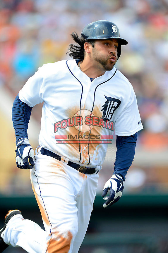 Detroit Tigers third baseman Matt Tuiasosopo #68 during a Spring Training game against the New York Mets at Joker Marchant Stadium on March 11, 2013 in Lakeland, Florida.  New York defeated Detroit 11-0.  (Mike Janes/Four Seam Images)
