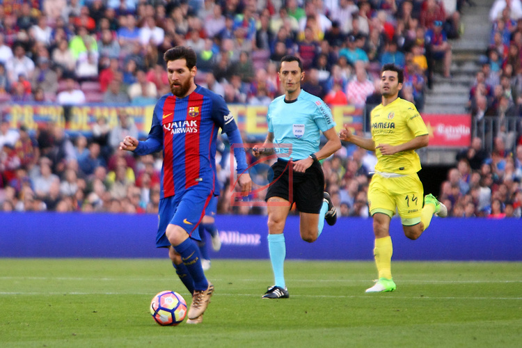 League Santander 2016/2017. Game: 36.<br /> FC Barcelona vs Villarreal CF: 4-1.<br /> Lionel Messi vs Trigueros.