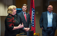 NWA Democrat-Gazette/BEN GOFF @NWABENGOFF<br /> Amy Harrison (from left), Nathan Smith, Benton County prosecuting attorney, and Hayes Minor, Rogers chief of police talk Thursday, Feb. 7, 2019, during a press conference at the Rogers Police Department. The conference was held following Grant Hardin pleading guilty to raping Harrison, at the time a teacher at Frank Tillery Elementary, in 1997.