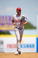 Richmond Flying Squirrels right fielder Hunter Cole (6) jogs to the dugout during a game against the Binghamton Mets on June 26, 2016 at NYSEG Stadium in Binghamton, New York.  Binghamton defeated Richmond 7-2.  (Mike Janes/Four Seam Images)