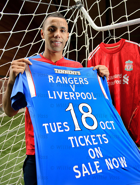 Kyle Bartley promoting the upcoming Rangers v Liverpool friendly match