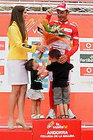 Joaquin Purito Rodriguez with his son and his daughter receives the leader's red jersey after during the stage of La Vuelta 2012 between Lleida-Lerida and Collado de la Gallina (Andorra).August 25,2012. (ALTERPHOTOS/Acero) /NortePhoto.com<br /> <br /> **CREDITO*OBLIGATORIO** <br /> *No*Venta*A*Terceros*<br /> *No*Sale*So*third*<br /> *** No*Se*Permite*Hacer*Archivo**<br /> *No*Sale*So*third*